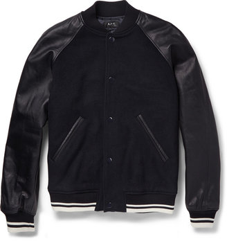 A.P.C. Leather and Wool-Blend Bomber Jacket