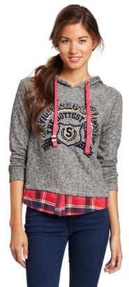 Southpole Juniors Twofer Hooded Fashion Pullover Sweater