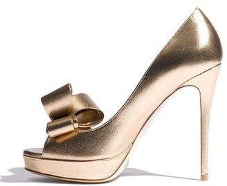 Valentino Metallic Couture Bow Platform Pump