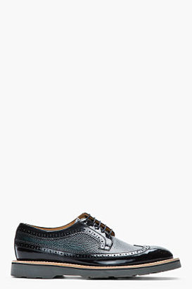 Paul Smith Black and green pebbled leather brogues
