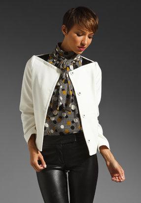 Milly Double Weave Janie Leather Trim Jacket