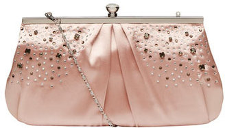 Dorothy Perkins Nude rouched gem clutch bags