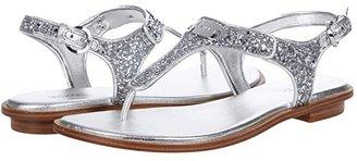 MICHAEL Michael Kors MK Plate Thong (Bright White Mini MK Logo Coated Canvas) Women's Sandals