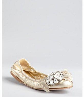 Miu Miu Miu sahara gold leather jewel and bow embellished toe ballet flats