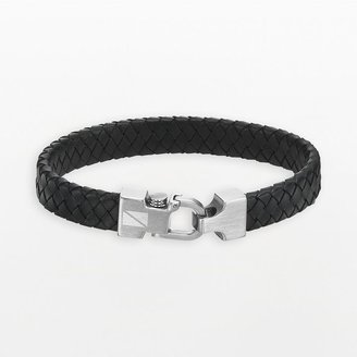 Black Diamond Axl by triton stainless steel & leather accent bracelet - men