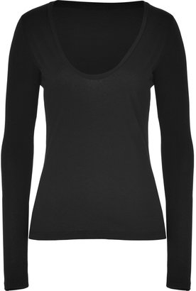 James Perse Black Long Sleeve Scoop Neck Cotton T-Shirt