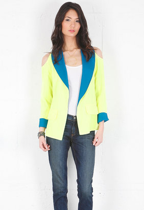 Boulee Addison Open Shoulder Blazer in Teal/Neon