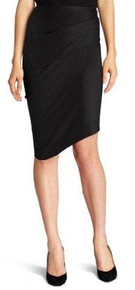 Halston Women's Wool Pencil Drape Skirt