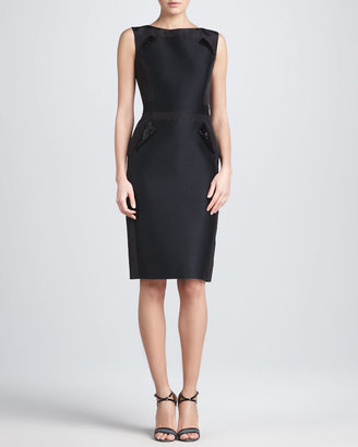Carolina Herrera Sleeveless Mikado Sheath Dress, Black