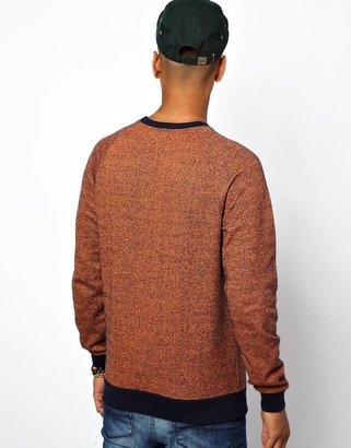 Asos Sweatshirt In Speckled Fabric And Contrast Trims
