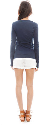 James Perse Long Sleeve Relaxed Casual V Neck Tee