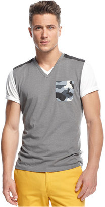 INC International Concepts T-Shirt, Mott Blocked V-Neck T-Shirt