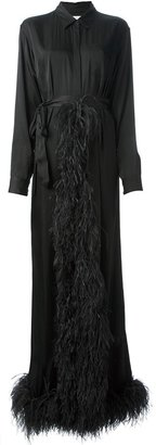 Dries Van Noten feather trim shirt dress