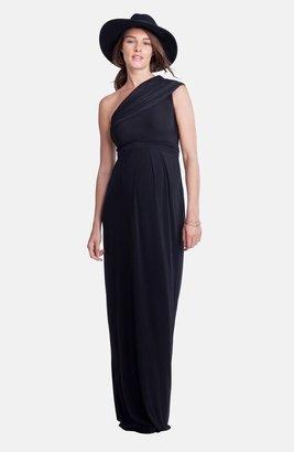 Isabella Oliver Belmont One-Shoulder Maternity Column Gown