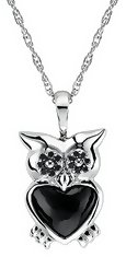 Black Diamond 1 7/8 Carats Onyx and Sterling Silver Owl Pendant w/Chain