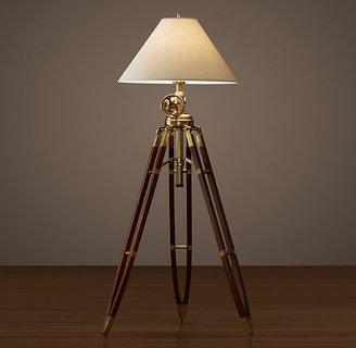 Restoration Hardware Royal Marine Tripod Floor Lamp - Antique Brass and Brown