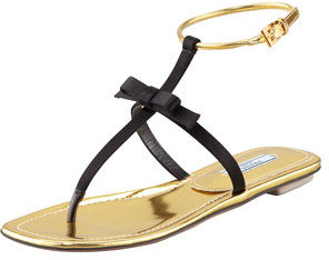 Prada Satin Bow Thong Sandal