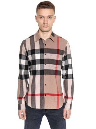 Burberry Cotton Flannel Maxi House Check Shirt