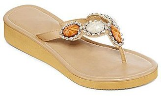 JCPenney Stone-Accented Wedge Flip Flops