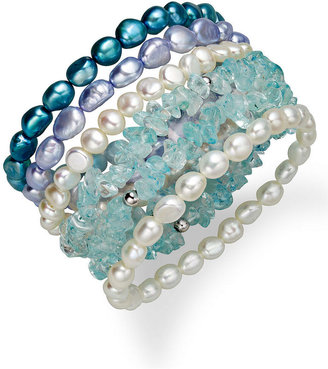 Honora Fresh by Sterling Silver Bracelets Set, Multicolor Cultured Freshwater Pearl (6-7mm) and Blue Quartz (33 ct. t.w.) Set of 6 Bracelets