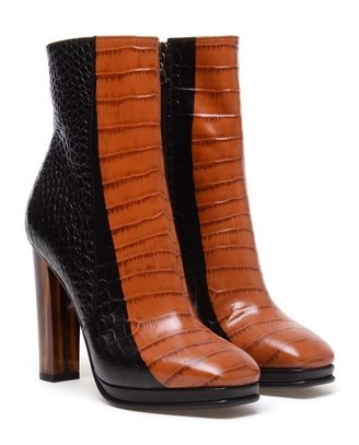 Dries Van Noten Crocodile Embossed Leather Ankle Boots