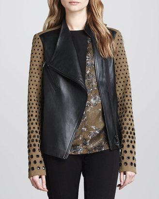 Robert Rodriguez Two-Tone Leather Grommet Jacket