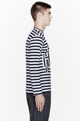 Comme des Garcons Navy striped Taxi patch t-shirt