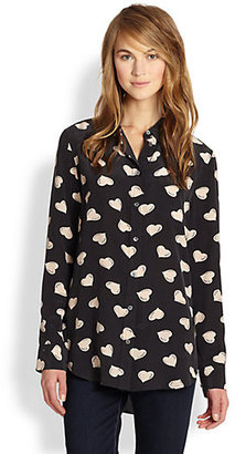 Equipment Reese Silk Heart-Print Shirt