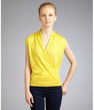 Lafayette 148 New York yellow cotton sleeveless faux wrap top