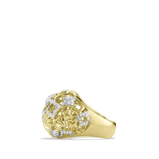 David Yurman Quatrefoil Large Dome Ring with Diamonds in Gold