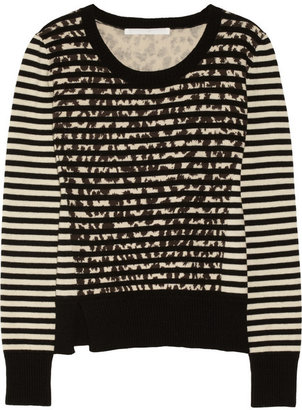 Thakoon Striped and leopard-patterned cotton and wool-blend sweater