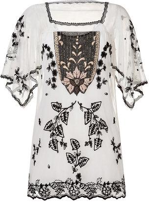 Anna Sui Victorian Embroidered Tunic in Cream Multi