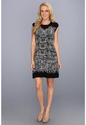 BCBGMAXAZRIA Melissa Painted Houndstooth Dress (Black/Combo) - Apparel
