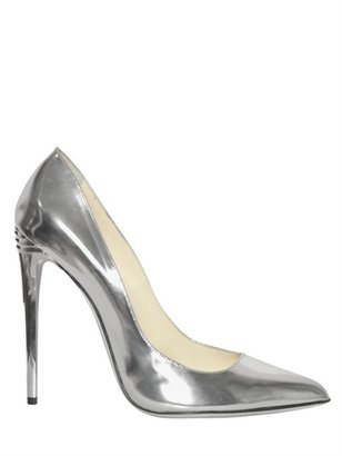 Balmain 100mm Silver Patent Leather Pumps