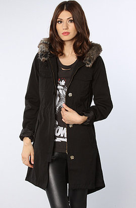 Volcom The Park It Convertible Hooded Fur & Sherpa Parka in Black