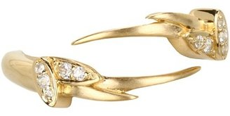 Elizabeth and James Meadowlark Wing Ring with White Sapphire (Yellow Gold Plated) - Jewelry