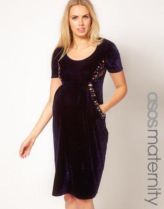 Asos Midi Dress In Velvet With Embellishment