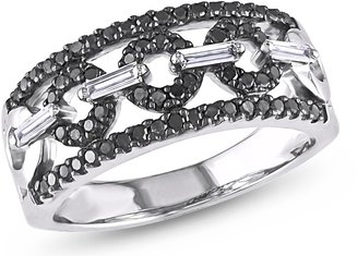 Ice.com 1/2 CT Black and White Round and Parallel Baguette Diamonds TW Fashion Ring 14k White Gold GH I1;I2
