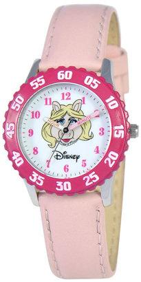 Disney Watch, Kid's Muppets Miss Piggy Time Teacher Pink Leather Strap 31mm W000161