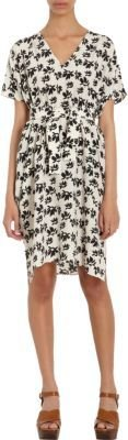 Marni Floral Print Flutter Sleeve Belted Dress