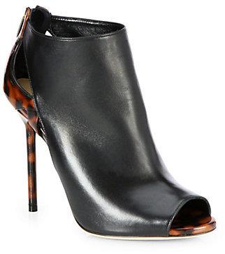 Sergio Rossi Moon Peep-Toe Leather Ankle Boots