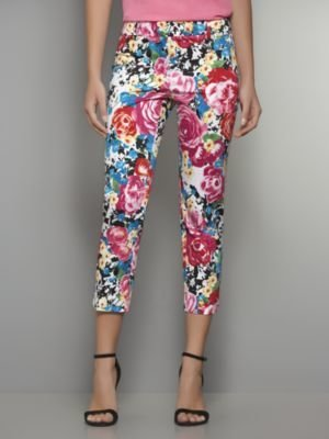 New York & Co. The 7th Avenue Straight Leg Sateen Crop Pant - Floral Print