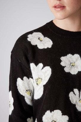 Topshop Knitted daisy curve hem jumper