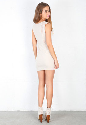 Finders Keepers Wake Me Up Body Dress in Nude/White Lace -