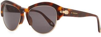 Givenchy Round Plastic Rimless-Bottom Sunglasses, Brown Tortoise