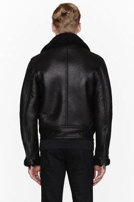Paul Smith Black shearling & leather jacket