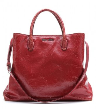 Miu Miu Cracked leather tote