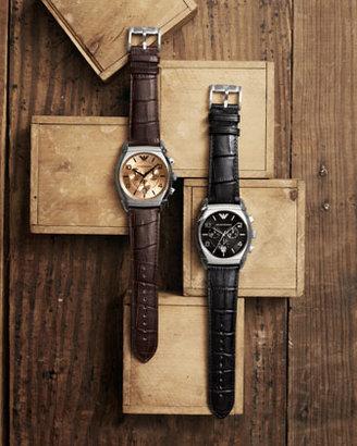 Emporio Armani Embossed Strap Chronograph Watch, Black