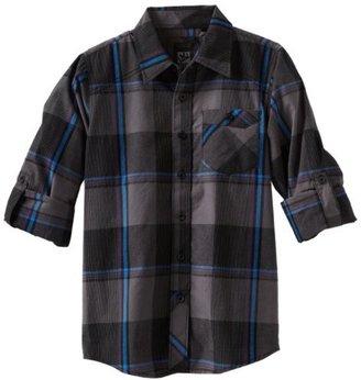 Micros Boys 8-20 Captain Long Sleeve Woven Plaid Shirt