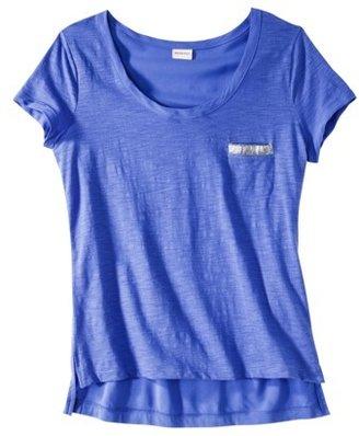 Merona Women's Pocket Tee Shirt w/ Sequin -Amparo Blue